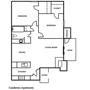 Two Bedroom / One Bath - 820 Sq. Ft.*